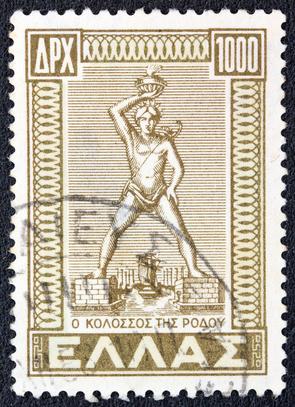 Der Koloss von Rhodos auf einer griechischen Briefmarke von 1947
